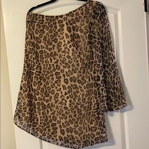 Gianni Bini One Shoulder Leopard Print Dress